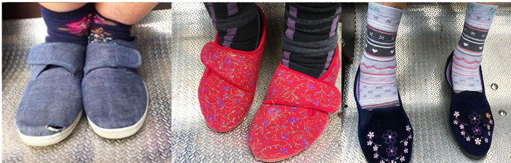 This is a picture of the slippers worn by older people being given a bike ride with Cycling Without Age Brighton