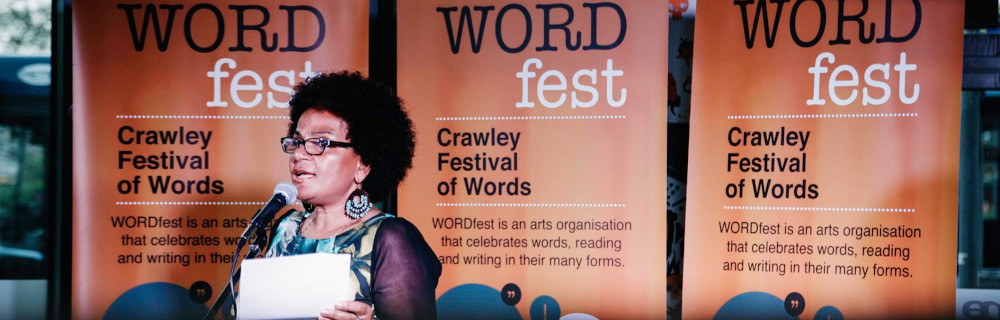 Akila Richards at Crawley WordFest 2020, before the Covid-19 lockdown