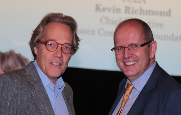 This is a picture of The 11th Duke of Richmond and Gordon (left), Patron of Sussex Community Foundation, with Kevin Richmond (right), Chief Executive of Sussex Community Foundation.