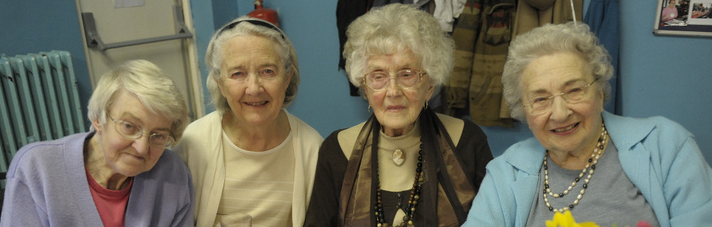 This picture shows four older ladies at the Hove Lunch Club in Spring 2014.