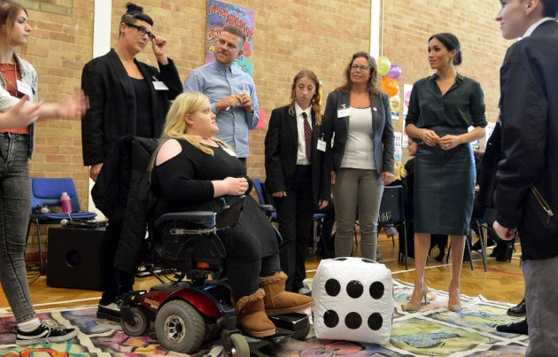 This is a picture of HRH The Duchess of Sussex visiting charity Priority 1-54 in October 2018