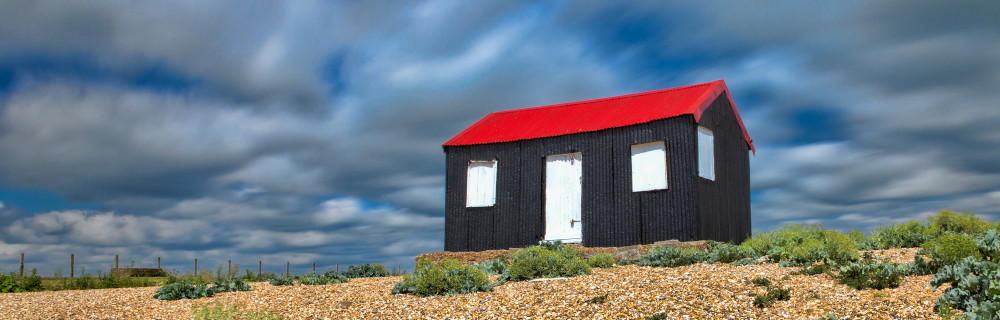 A beach hut at the entrance to Rye harbour