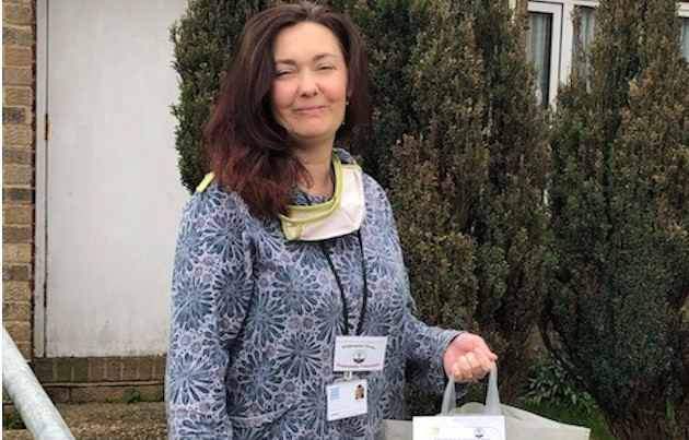 Lisa Playford, the Senior Development Worker at Willingdon Trees, pictured here on a home delivery, during the coronavirus outbreak April 2020